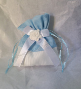 Pack of 12 bags Fabric Sky Blue with Chalk Portaconfetti Dim 10 x H11 cm 4433les