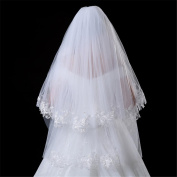 Wedding Veil 1.5m European Wedding Bracelet Double Layer Soft Skeleton Bone Bats Battier + Card , A
