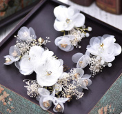 KHSKX-The Bride Handmade Silk Yarn Korean Headdress Flowers Comb Crystal White Wedding Wedding Headdress Hair Accessories