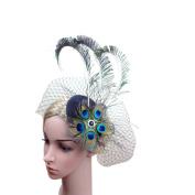 Bobury Women Peacock Eye Peacock Feather Style Bride Veil Hat Prom Party Headdress