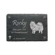 "'""American Eskimo Slate Plaque – Approximately 22 x 16 cm – Waterproof Engraving"