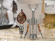 Murano Art Deco Collection Wine Opener And Wine Stopper Set