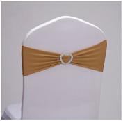Etbotu Wedding Banquet Decor Spandex Chair Cover LOVE Gold 1PCS