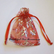 100 ORGANZA WEDDING PARTY favour BAGS CHRISTMAS SNOWFLAKES PATTERN 7 CM X 9 CM RED
