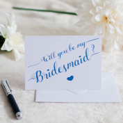 Royal Blue Will You Be My Bridesmaid. Luxury linen white card with white envelope bridal stationery wedding bridal shower bridesmaid maid of honour best friend