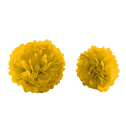 MultiWare 10Pcs Mixed Tissue Paper Pompoms Wedding Party Decoration Pom Poms Ball Yellow