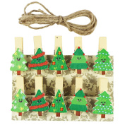 EDGEAM 10pcs Wooden Clips Photo Picture Note Memo Decoration Pegs Clothespin with Jute Twine