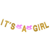It's a Girl Gold Glitter Bunting Banner for Funny Wedding Bachelorette Party Hen Party Decorations