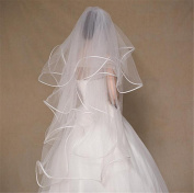 XY-QXZB Wedding Veil 1 m 4-Layer Head Yarn Europe And The United States Bride Wedding Veil Rice White Studio Photo Ultra Soft Lock Edge Veil
