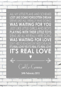 REAL LOVE - TOM ODELL - Wedding Anniversary Engagement Personalised First Dance Reading A4 (21cm x 29.7cm) Unframed Print