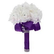 MultiWare Crystal Artificial Foam Rose Flower Bridesmaid Bouquet Bridal Wedding Party Favour Dark Purple