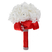MultiWare Crystal Artificial Foam Rose Flower Bridesmaid Bouquet Bridal Wedding Party Favour Red