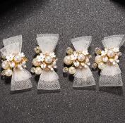 Bride headdress crystal net yarn pearl white hairpin wedding dress accessories