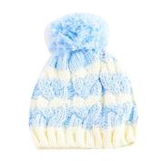 Newborn Kids Boys Girls Cute & Fashionable Winter Warm Beanie Pom Pom Bobble Hats - Blue