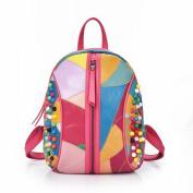 Sheepskin Handbags Shoulder Bag Fashion Sheepskin Stitching Rivets Shell-Shaped Travel Backpack , Colour
