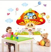 Vrolijke Premium Muursticker Paddestoel Met Dieren XL Olifant Tijger Leeuw Eekhoorn Konijn Beer - Voor Kinderkamer / Babykamer V2