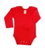 BabywearUK Body Vest Env Neck Long Sleeved - Red - Newborn - British Made