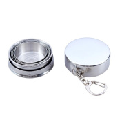 NiceButy 75ml silver Stainless Steel Portable Outdoor Travel Camping Folding Collapsible Cup Metal Telescopic Keychain