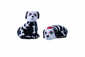 Transpac Day of the Dead Dog Salt and Pepper Shaker Set, Black,White,Red