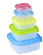 Renberg 10 Piece Plastic Kitchen Food Storage Square Container Set With Coloured Lids