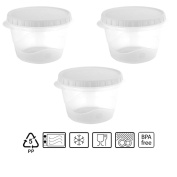 Set of 3 Tuppers Round 550 ml With White Lid of bittamina