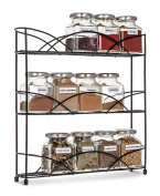 LIVIVO ® Free Standing 3 Tier Spice and Herb Rack –Counter Table Top Storage Shelving Solution for Up to 21 Jars and Bottles – Universal Size Fits Most Brands – Non Slip Rubber Feet
