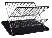 CookSpace Folding 2 Tier Chrome Plated Dish Drainer Drying Rack with Black Plastic Drip Tray