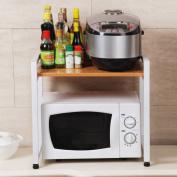 Anna Kitchen Shelves Multifunctional kitchen microwave oven rack spice rack storage pan rack wood single layer