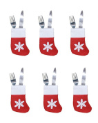 Cheap4uk 6pcs Christmas Cutlery Holders xmas Table Decoration Knifes Forks Bag for Home Restaurant Dining Room