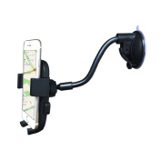 Car Phone Holder, TrioGor TM1 Easy One Touch Gooseneck 360 Degree Phone Holder for Car with Ultra-Sticky Suction Pad for iPhone 6 Plus 6S 7 7 Plus for Samsung Galaxy S6 S7 S8 Huawei P9 P10 and More Smartphones Windshield Universal Car Mount Black