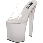 XTREME-802 Sexy 20cm High Heel Pole Dancing Shoes Clr/Wht 3 UK