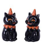Transpac Vintage Cat Salt and Pepper Shaker Set, Black, Orange