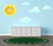Sun and Clouds Kids Children Bedroom Nursery Sticker Print Decal Transfer (Medium