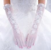 Ajunr-Gloves The Bride Lengthened The White Five Finger Lace And The Long Packet Refers To The Wedding Scar