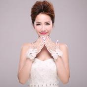 Ajunr-Gloves Bride White Lace Big Flower Short Full Finger Exquisite Wedding Accessories