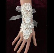 Ajunr-Gloves Bridal Wedding White Beige Finger Lace