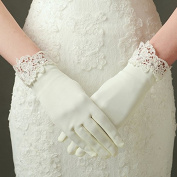 Ajunr-Gloves Bridal Wedding Dresses Accessories Wedding Banquet Short Satin Water Soluble Lace Photo