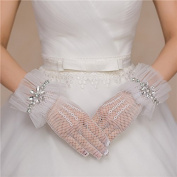 Ajunr-Gloves White Wedding Long Satin Wedding Dresses Mesh Wedding Lace Short