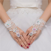 Ajunr-Gloves Bridal White Wedding Dresses Long Lace Embroidered Finger Pins Beads Wedding