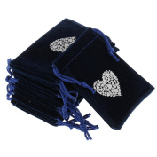 Baosity 10PCs 7 x 9cm Dark Blue Jewellery Velvet Pouch Gift Bags With Weave Drawstring