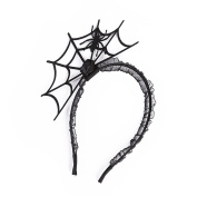 Baosity Gothic Crown Spider Webs Hair Hoop Headband Punk Party Christmas Prom Halloween Black