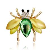 Skyllc® 10 PCS Charm Women's Artificial Crystal Animal Bee Rhinestone Bridal Bouquet Brooch Pin Jewellery for Dressing Decor Yellow-Green