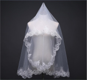 Bride Wedding Veil White Ivory Lace Embroidered Edge Single Layer Soft Network