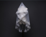 Bride Wedding Veil White Ivory Lace Embroidered With Sequins Edge Single Layer Soft Network