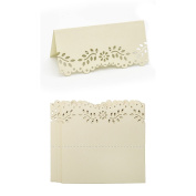 60pcs White Gold Name Place Cards Shimmer Laser Cut Hollow Floral DIY Vintage Pearlescent Invitations Table Number Cards