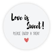 eKunSTreet ® 48x Wedding Favour 'Love is Sweet ! PLEASE ENJOY A TREAT' Sticker,40mm GLOSSY Sweet Cones Labels, Thank you Envelope Seals, Treat Bag Labels,Party Celebration Labels Rustic- UNI 057