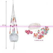 DIY Kit – Colourful Wooden Beads and White Macramé, 80 cm Long