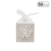 50pcs/pack Delicate Heart Wedding Creative High Grade Candy Packing Box With Lace Decoration-Ivory White