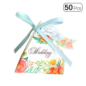 50pcs/pack Triangle Double Side Flower Mini Wedding Candy Boxes With Lace Tag Party Favour Dessert Box Decoration-Blue