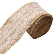 Mengonee 2M/roll Linen Lace Jute Burlap Roll Trim for Christmas Wedding Party Decoration Rustic Wedding Craft